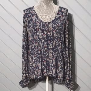Winter Kate vintage silk print blouse- sz S